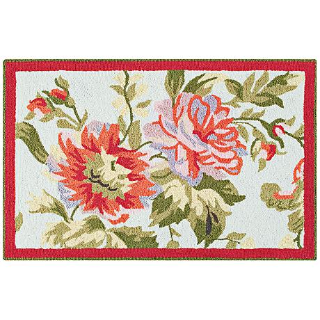 Sage Floral 2'x3' Wool Doormat