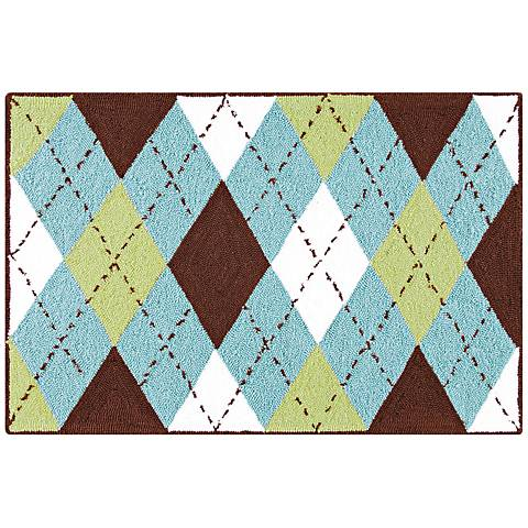 Green Argyle 2'x3' Acrylic Doormat