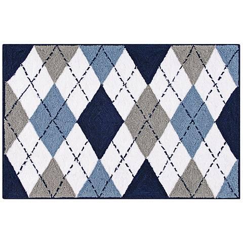 Blue Argyle 2'x3' Acrylic Doormat