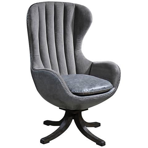 Uttermost Linford Dove Gray Velvet Upholstered Swivel Chair
