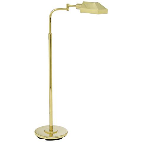 House of Troy Shiny Brass Adjustable Pharmacy Floor Lamp