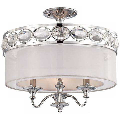 """Bijou Collection 18 1/2"""" Wide Chrome Ceiling Light"""