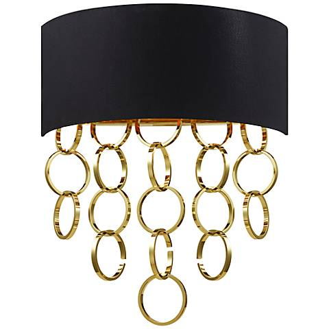 "Eurofase Novello 19"" High Black Gold Wall Sconce"