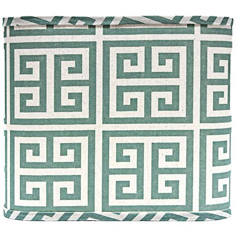 Aqua Greek Key Square Lamp Shade 11x11x9.5 (Spider)