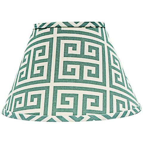 Aqua Greek Key Empire Lamp Shade 10x18x13 (Spider)