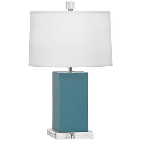Robert Abbey Harvey Steel Blue Glazed Ceramic Accent Lamp