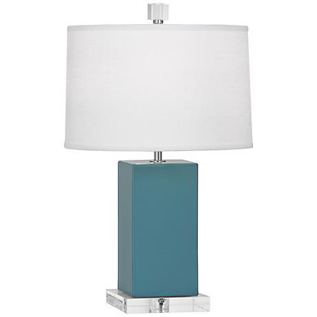 Robert Abbey Harvey Steel Blue Glazed Ceramic Accent Lamp