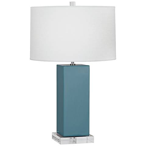 Robert Abbey Harvey Steel Blue Glazed Ceramic Table Lamp