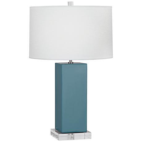 Robert Abbey Harvey Steel Blue Glazed Ceramic Table Lamp