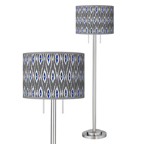 American Ikat Giclee Brushed Nickel Garth Floor Lamp