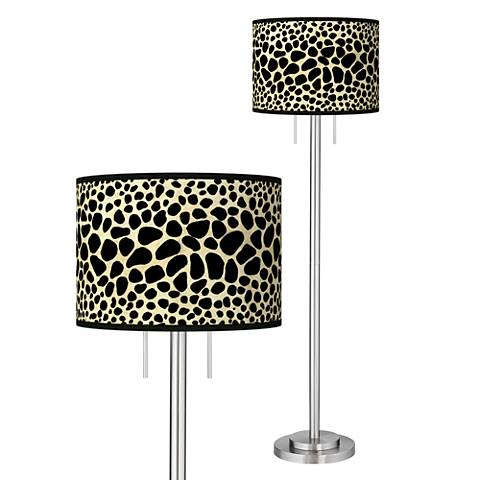 Leopard Giclee Brushed Nickel Garth Floor Lamp 3p321
