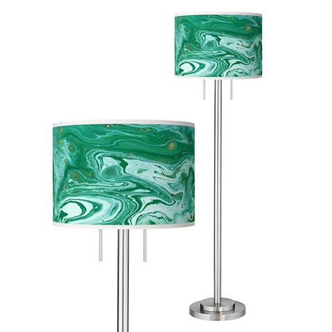 Malachite Giclee Brushed Nickel Garth Floor Lamp
