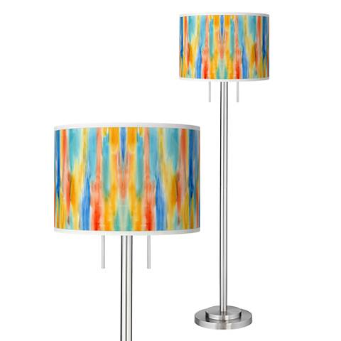 Tricolor Wash Giclee Brushed Nickel Garth Floor Lamp