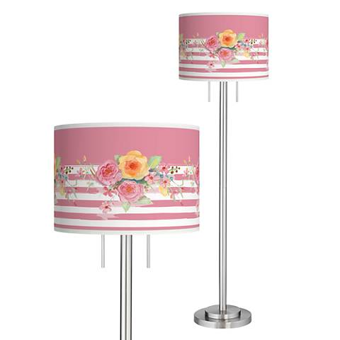 Country Rose Giclee Brushed Nickel Garth Floor Lamp