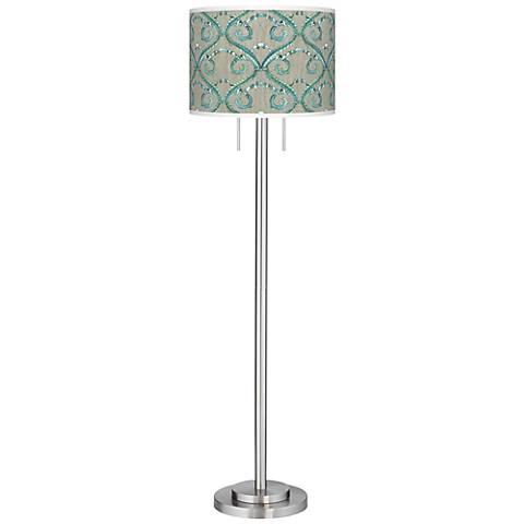 Orleans Blue Giclee Brushed Nickel Garth Floor Lamp