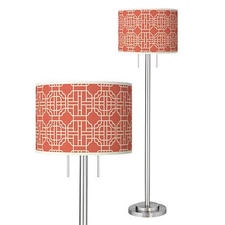 Mandarin Giclee Brushed Nickel Garth Floor Lamp