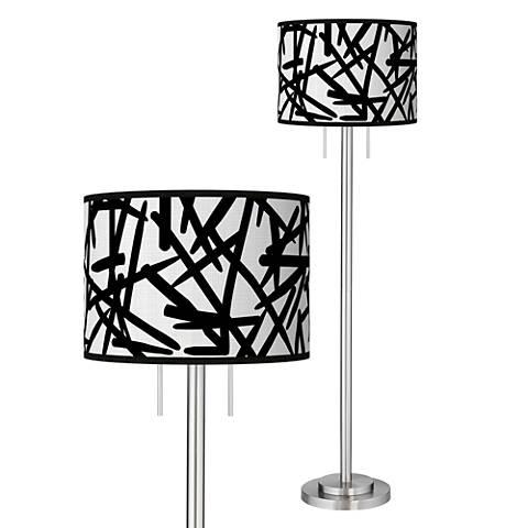 Sketchy Giclee Brushed Nickel Garth Floor Lamp