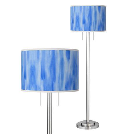 Blue Tide Giclee Brushed Nickel Garth Floor Lamp
