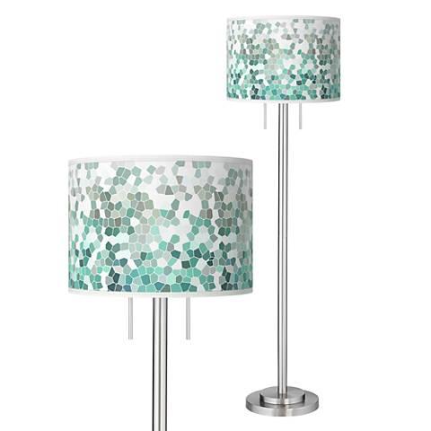Aqua Mosaic Giclee Brushed Nickel Garth Floor Lamp