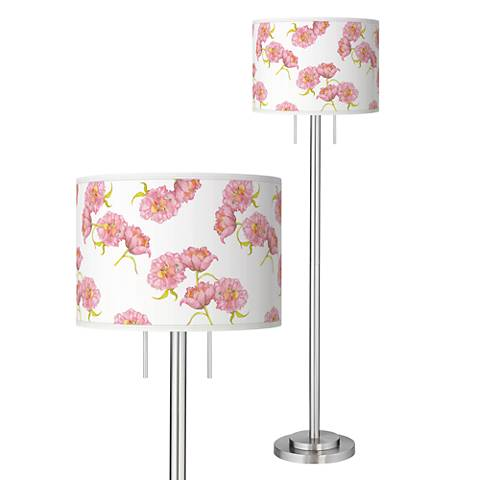 Pretty Peonies Giclee Brushed Nickel Garth Floor Lamp