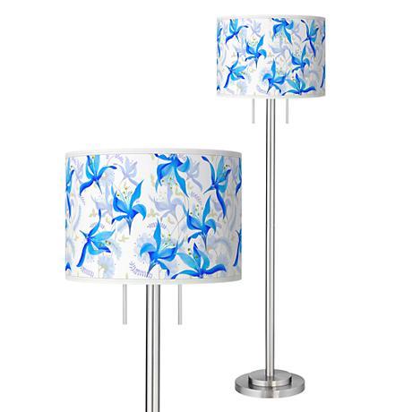 Flora Bleu Giclee Brushed Nickel Garth Floor Lamp