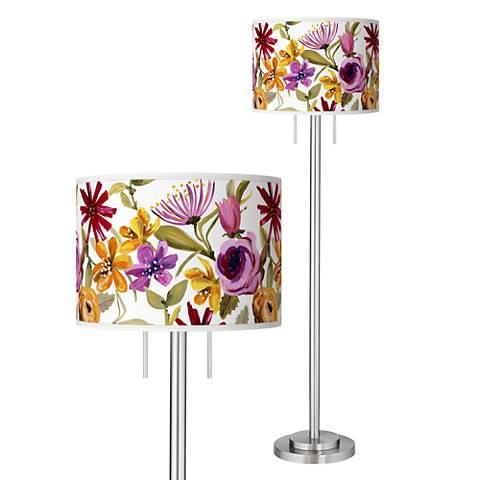 Bountiful Blooms Giclee Brushed Nickel Garth Floor Lamp