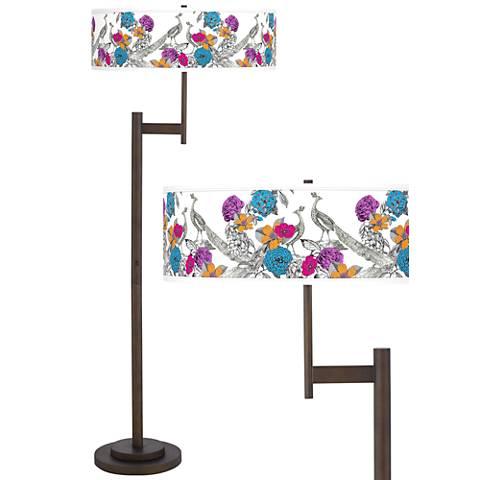 Peacocks in the Garden Light Blaster™ Bronze Floor Lamp