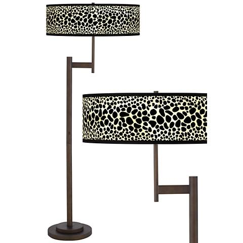 Leopard giclee parker light blaster bronze floor lamp for Floor lamp with leopard shade