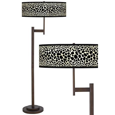Leopard Giclee Parker Light Blaster™ Bronze Floor Lamp