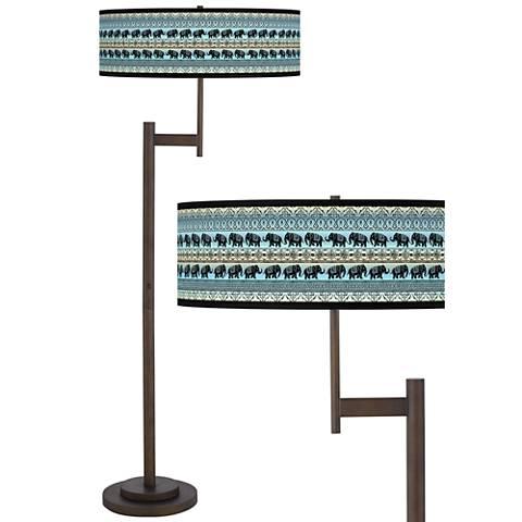 Elephant March Giclee Parker Light Blaster™ Bronze Floor Lamp