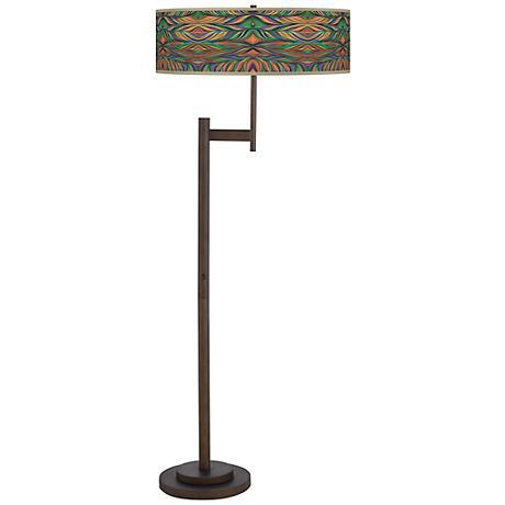 Exotic Peacock Parker Light Blaster Bronze Floor Lamp