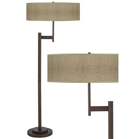 Burlap Print Parker Light Blaster Bronze Floor Lamp