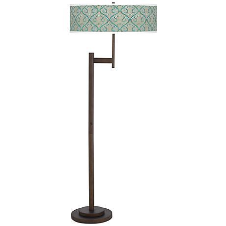 Orleans Blue Parker Light Blaster Bronze Floor Lamp