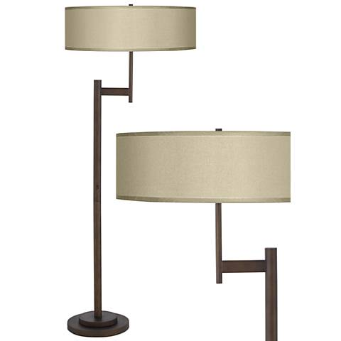 Parker Light Blaster Floor Lamp with Sesame Faux Silk Shade