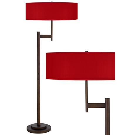 China Red Textured Silk Parker Light Blaster Floor Lamp