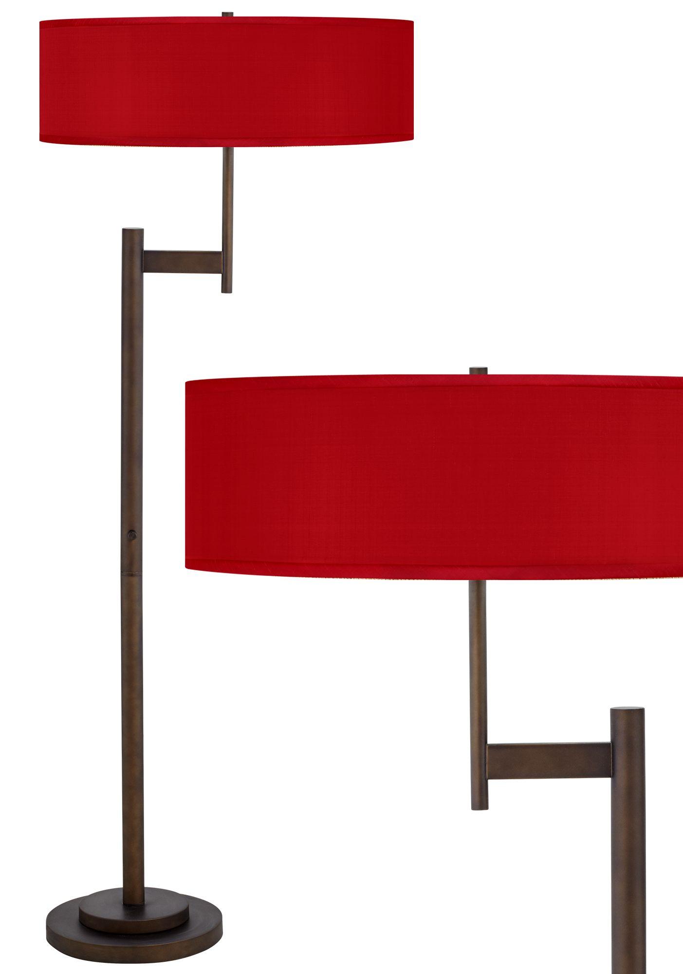 China Red Textured Silk Parker Light Blaster Floor Lamp