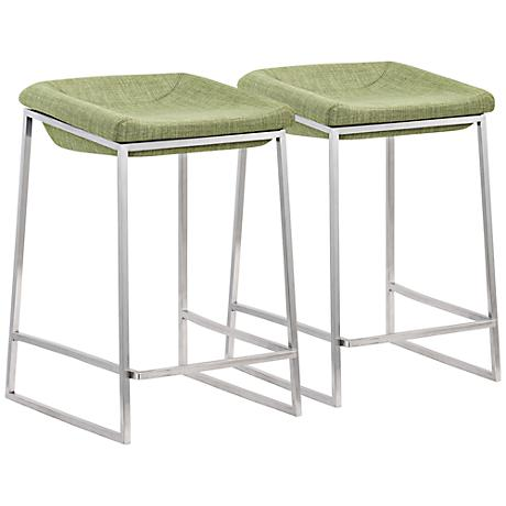 Set of 2 Zuo Lids Green Counter Chairs