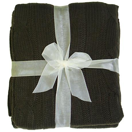 Sadie Brown Cable Knit Throw Blanket