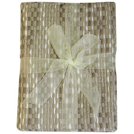 Jewell Cream Basket Weave Throw Blanket