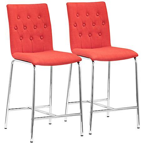 Set of 2 Zuo Uppsala Tangerine Counter Chairs
