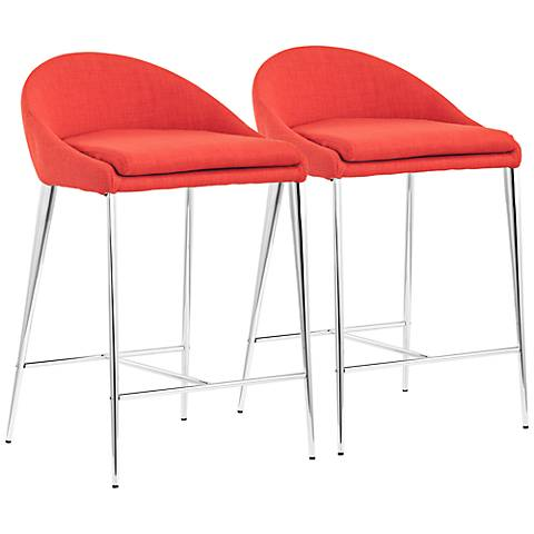 Set of 2 Zuo Reykjavik Tangerine Counter Chairs