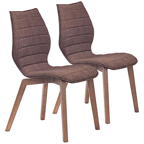Set of 2 Zuo Aalborg Tobacco Accent Chairs