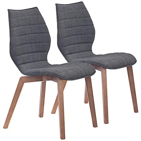 Set of 2 Zuo Aalborg Graphite Accent Chairs