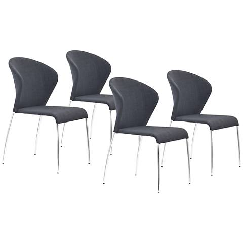 Set of 2 Zuo Oulu Graphite Gray Side Chairs