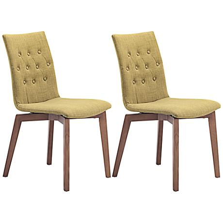 Set of 2 Zuo Orebro Pea Green Accent Chairs
