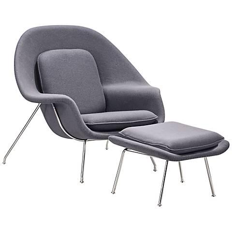 Zuo Nursery Light Gray Lounge Chair and Ottoman