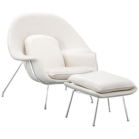 Zuo Nursery White Lounge Chair and Ottoman