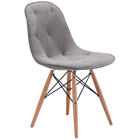 Zuo Probability Gray Velour Wood Chair