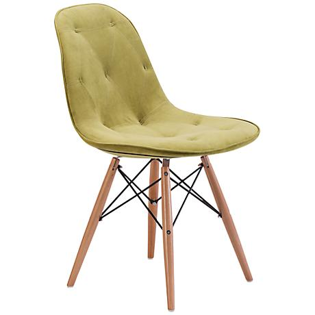 Zuo Probability Green Velour Wood Chair