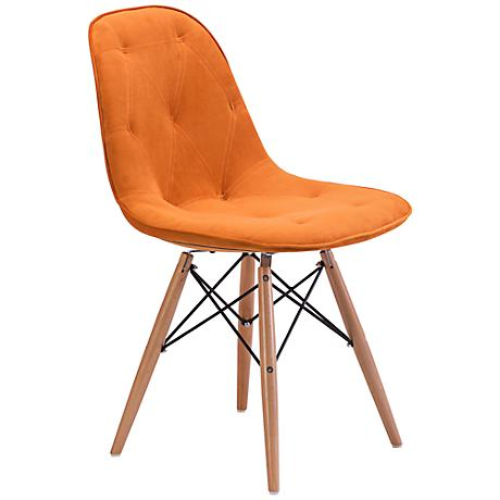 Zuo Probability Orange Velour Wood Chair